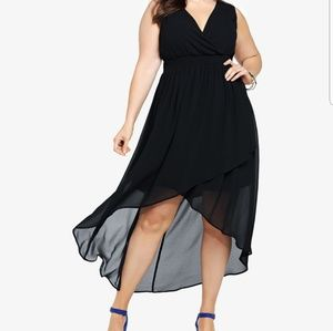 Torrid chiffon faux wrap hi lo dress size 5
